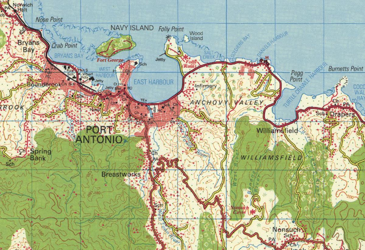 Topo Map for Port Antonio