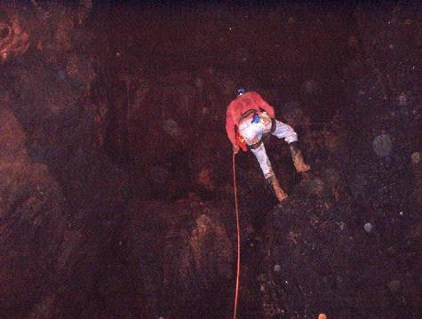 Ivor Conolley on descent at the second drop of Windsor Cave